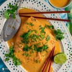 easy massaman thai salmon curry on white platter