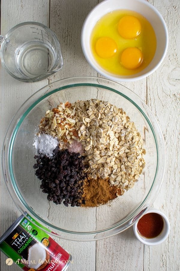 ingredients for peach oatmeal breakfast clafoutis