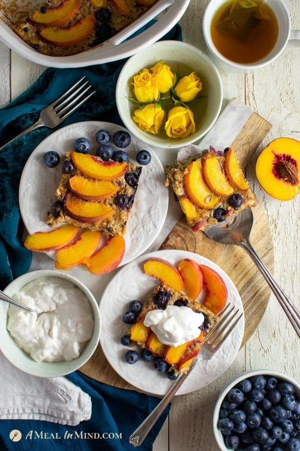 individual servings of peach oatmeal breakfast clafoutis