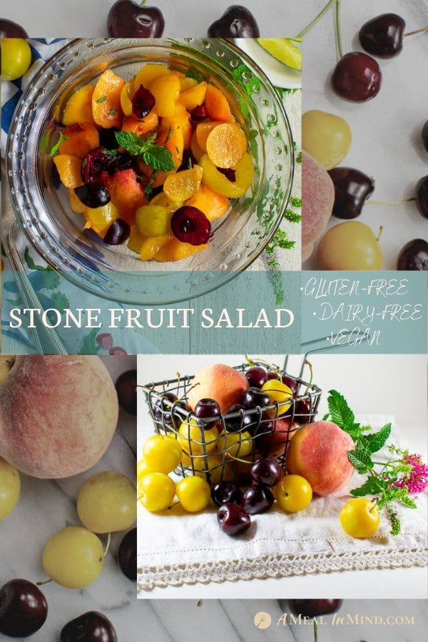pinterest collage 2 of stone fruit salad with citrus dressing