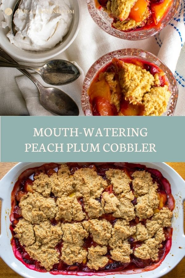 Pinterest collage 3 of easy mouthwatering peach-plum cobbler