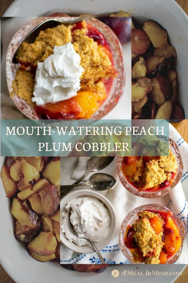 Pinterest collage 1 of easy mouthwatering peach-plum cobbler