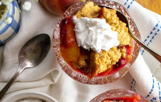 Mouthwatering Peach-Plum Cobbler with Almond-Oat Crust, GF, V