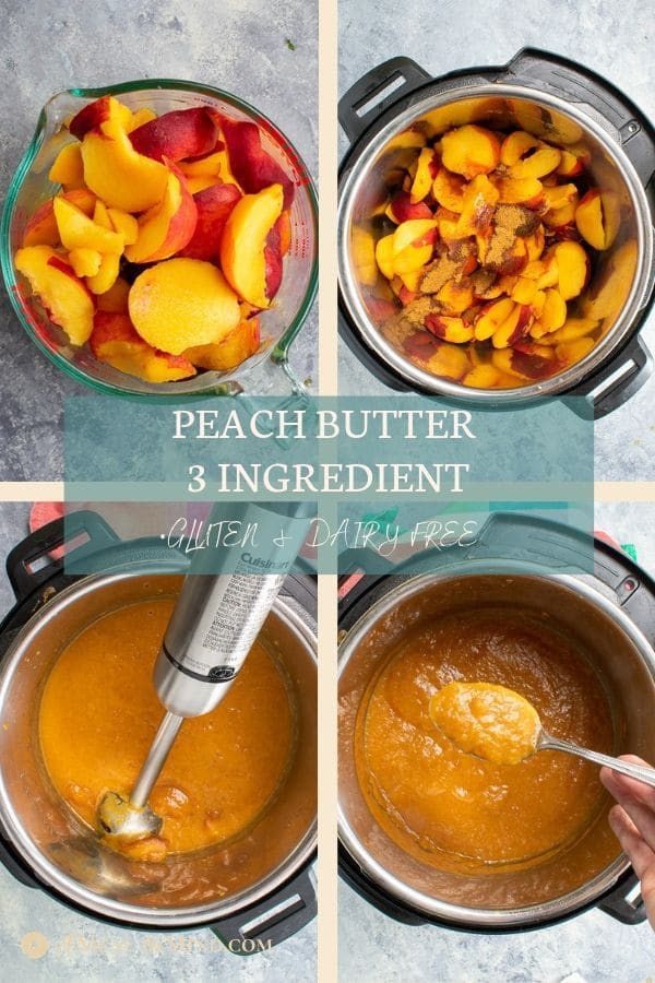Pinterest collage 2 of easy peach butter 3 ingredient