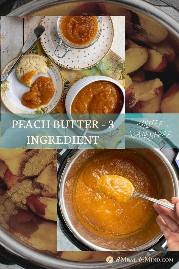 Pinterest collage 1 of easy peach butter 3 ingredient