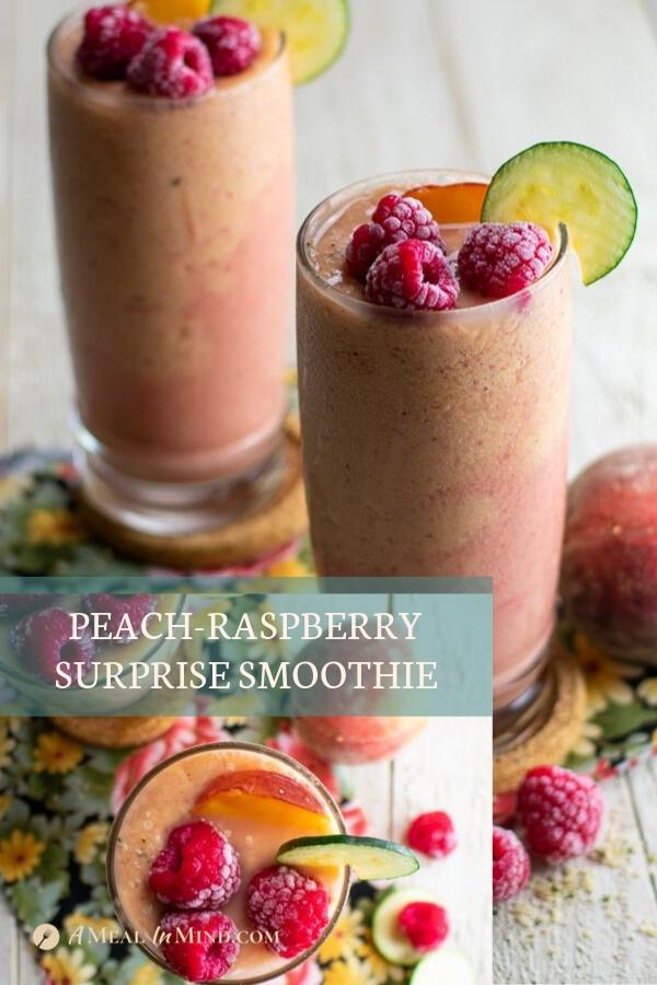 pinterest collage of Peach raspberry surprise smoothies in tall glasses