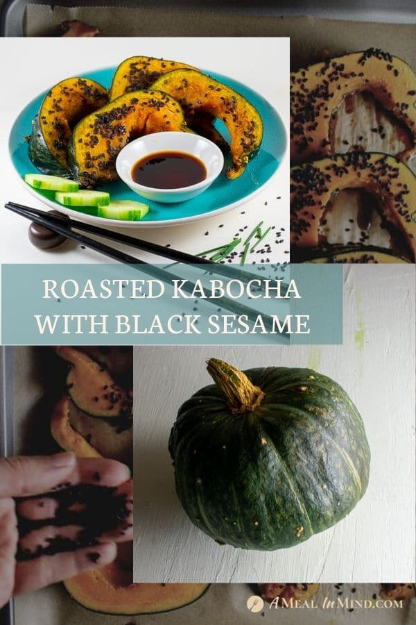 pinterest collage of roasted kabocha with black sesame on blue plate