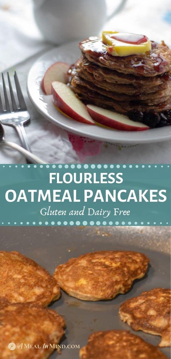 pinterest tall collage of flourless oatmeal pancakes