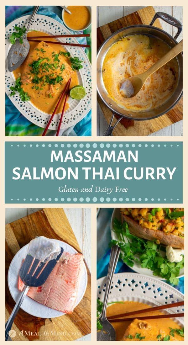 delicious massaman thai salmon curry pinterest tall collage