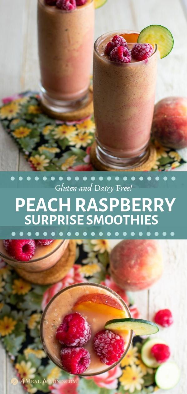 peach raspberry surprise smoothies long pinterest collage