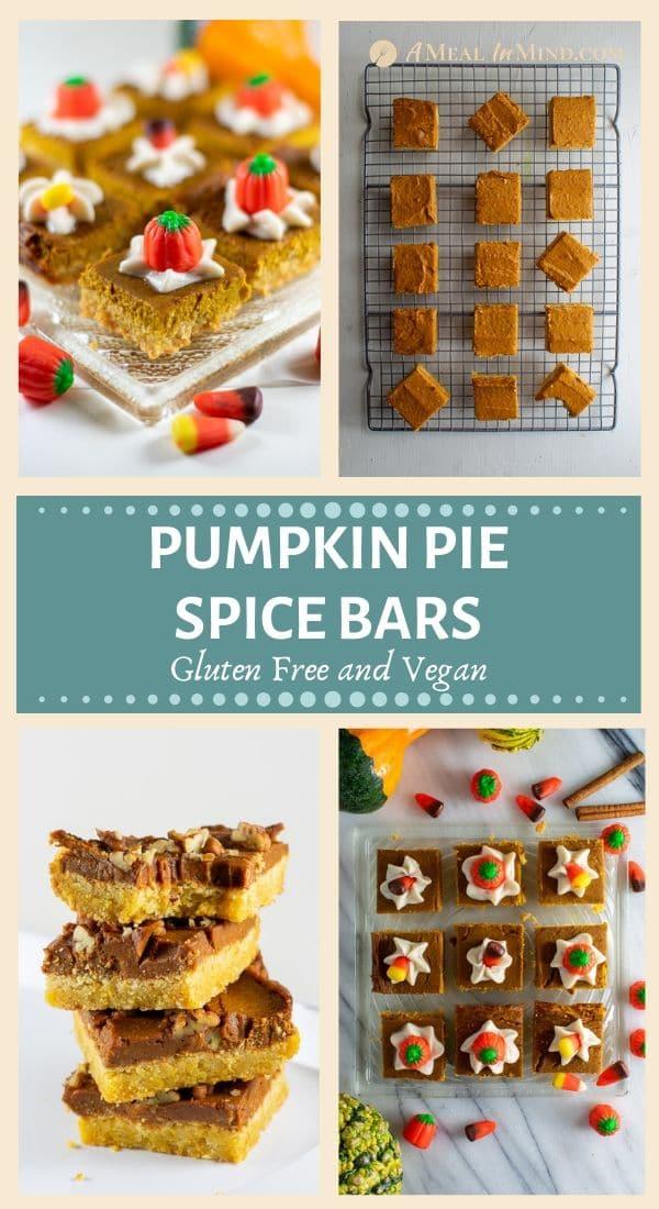 pumpkin pie spice bars gluten free and vegan with halloween candies collage