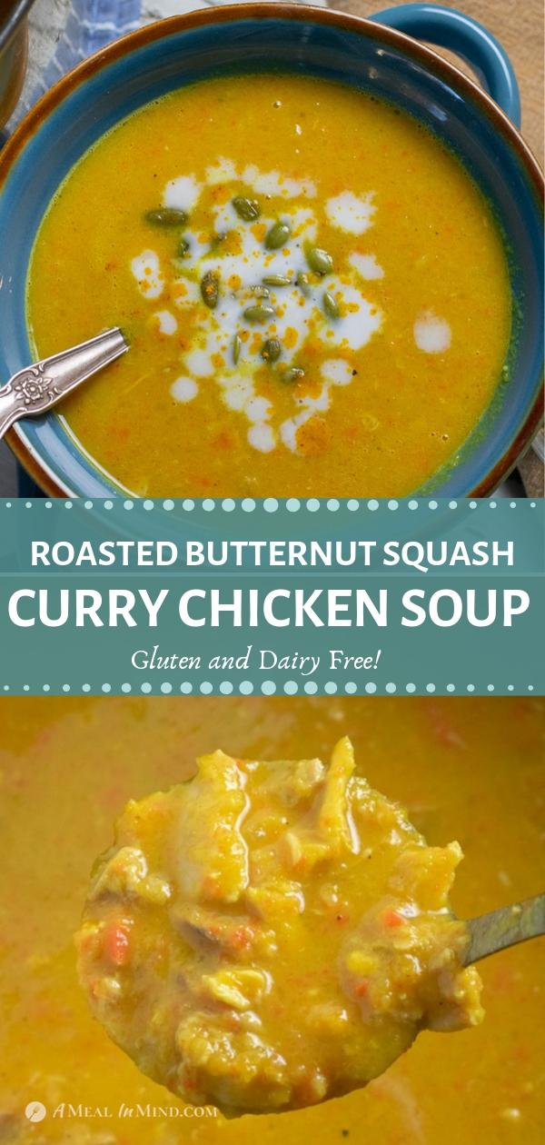 pinterest collage of butternut squash chicken curry soup and close-up