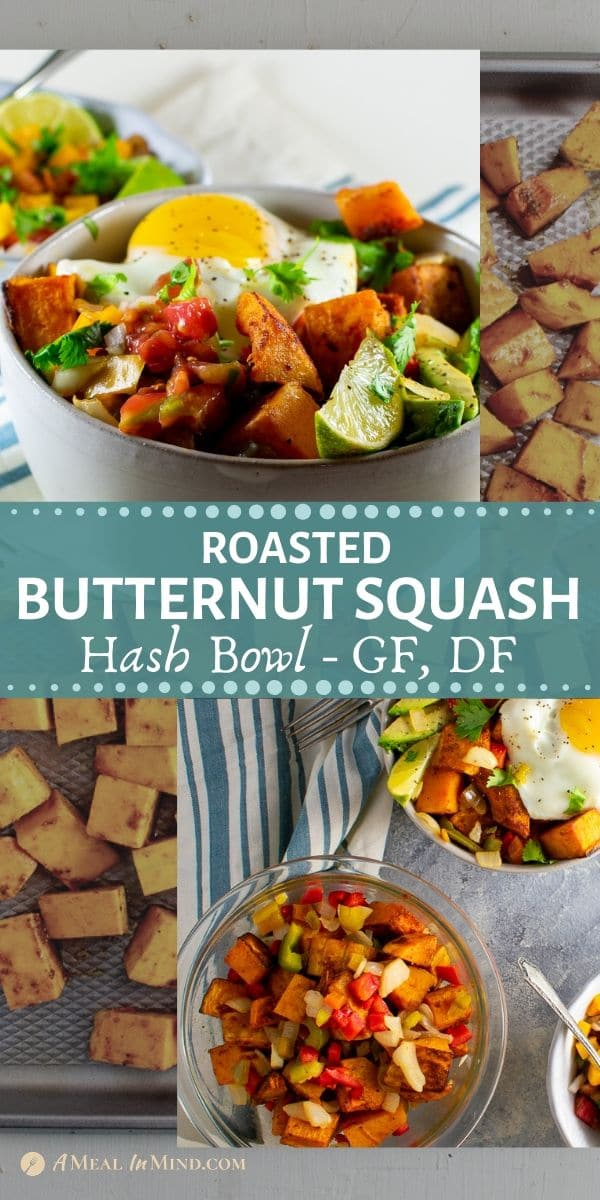 scrumtious roasted butternut squash hash bowl pinterest collage