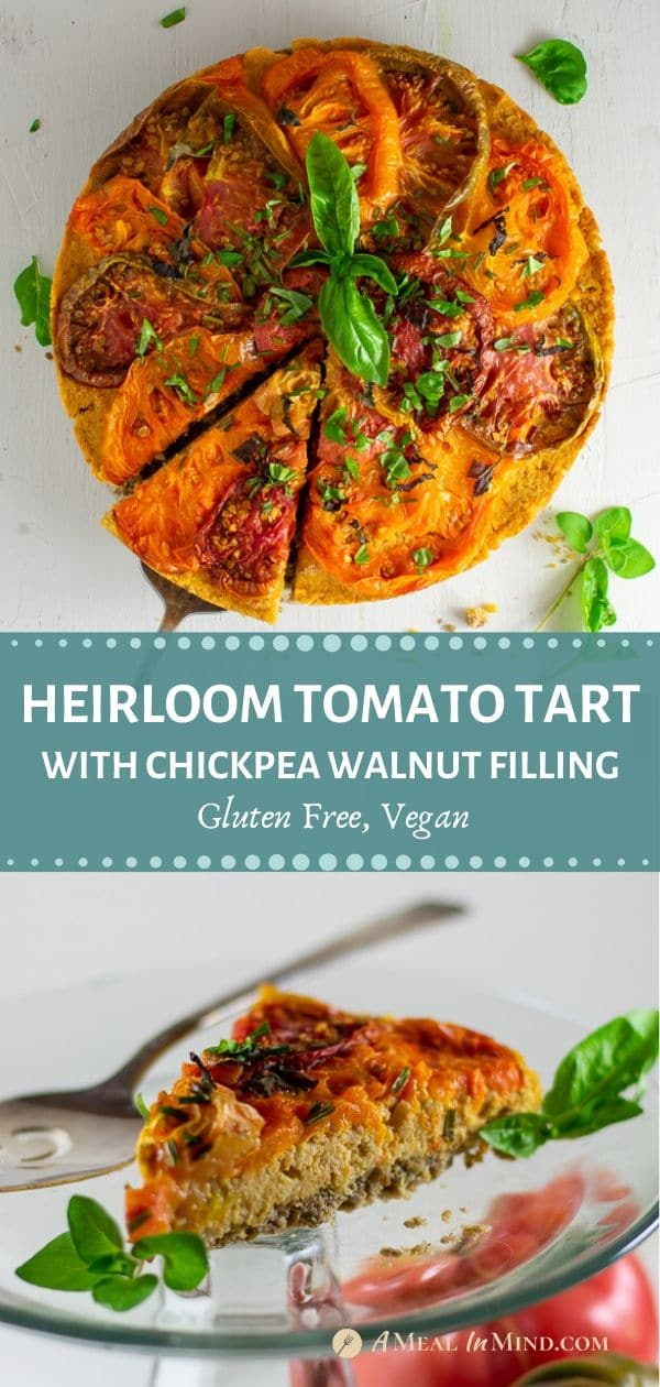 pinterest collage 2 of savory roasted heirloom tomato tart with chickpea-walnut filling