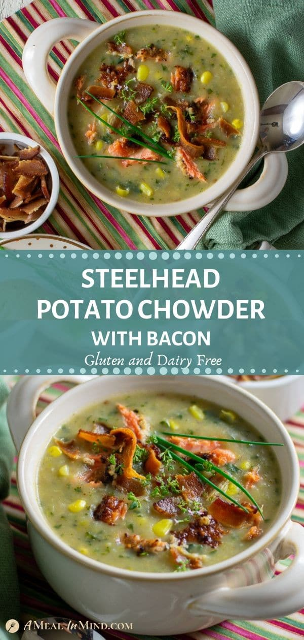 steelhead potato chowder with bacon in white bowls