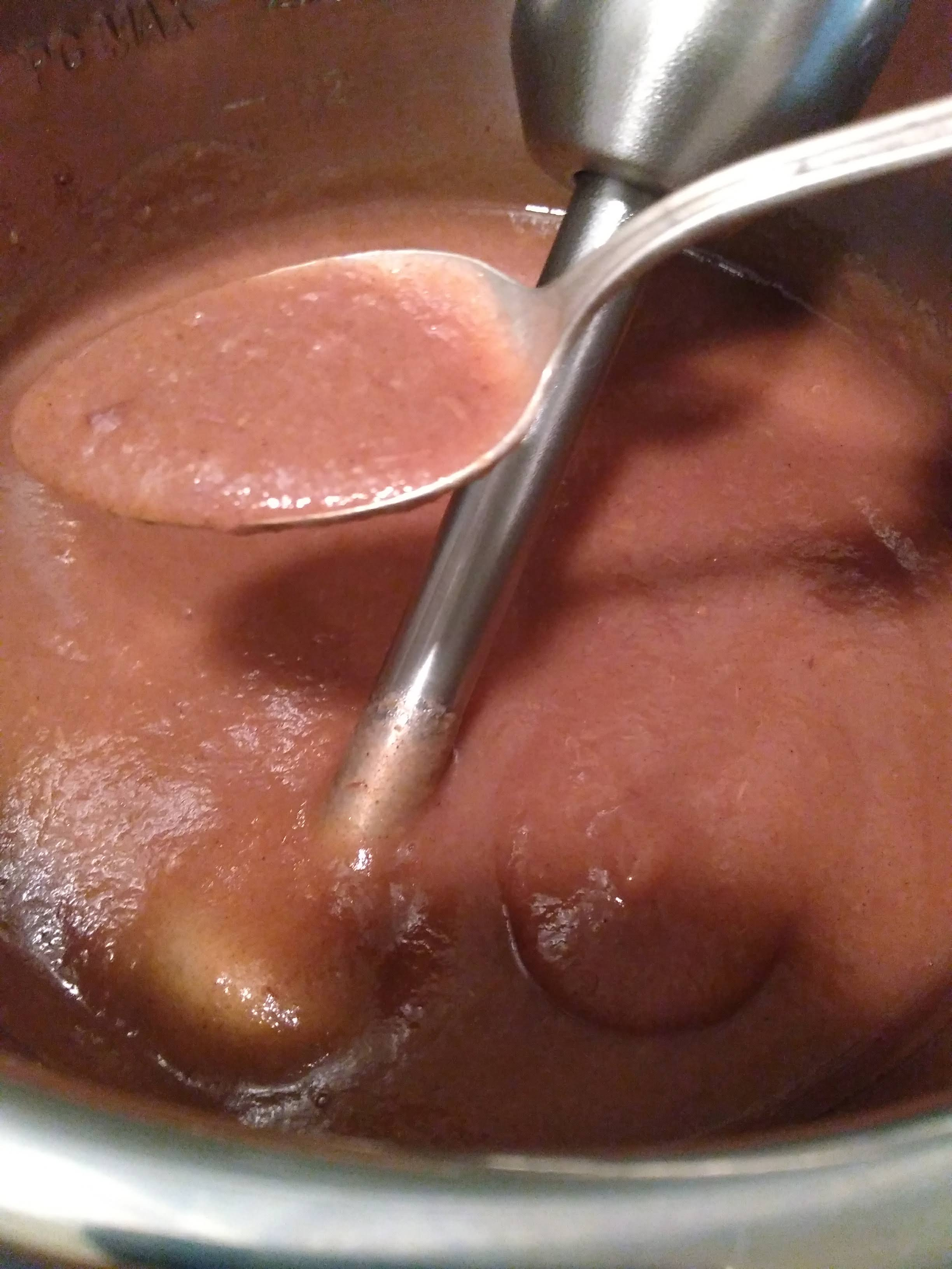 delicious apple butter almost thick enough on a spoon