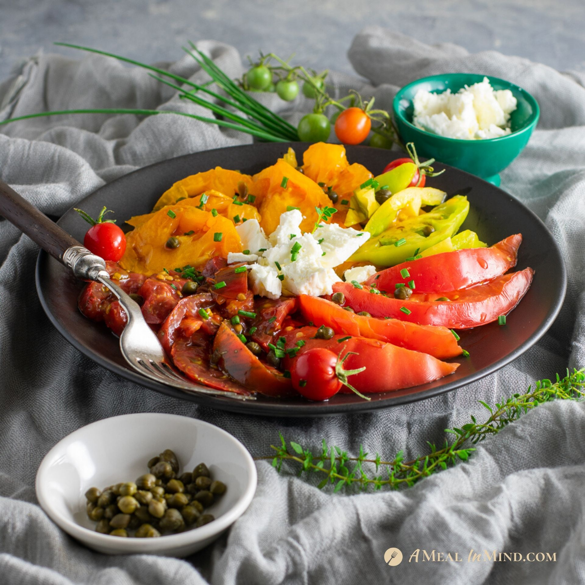 Heirloom Tomato Salad with Capers and Feta – GF and Vegan