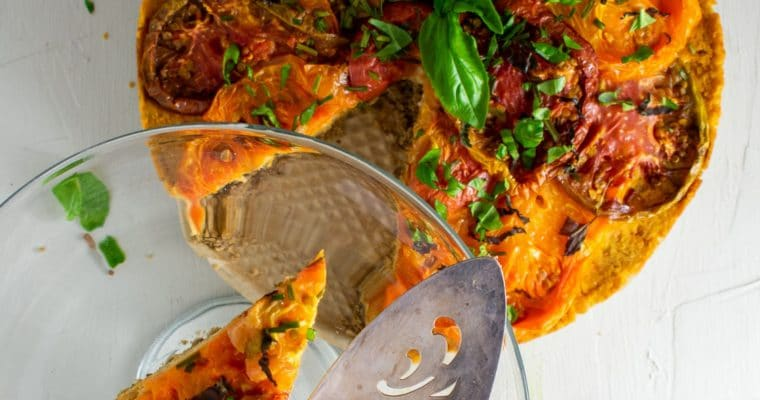 Roasted Heirloom Tomato Tart with Chickpea-Walnut Filling – GF and vegan