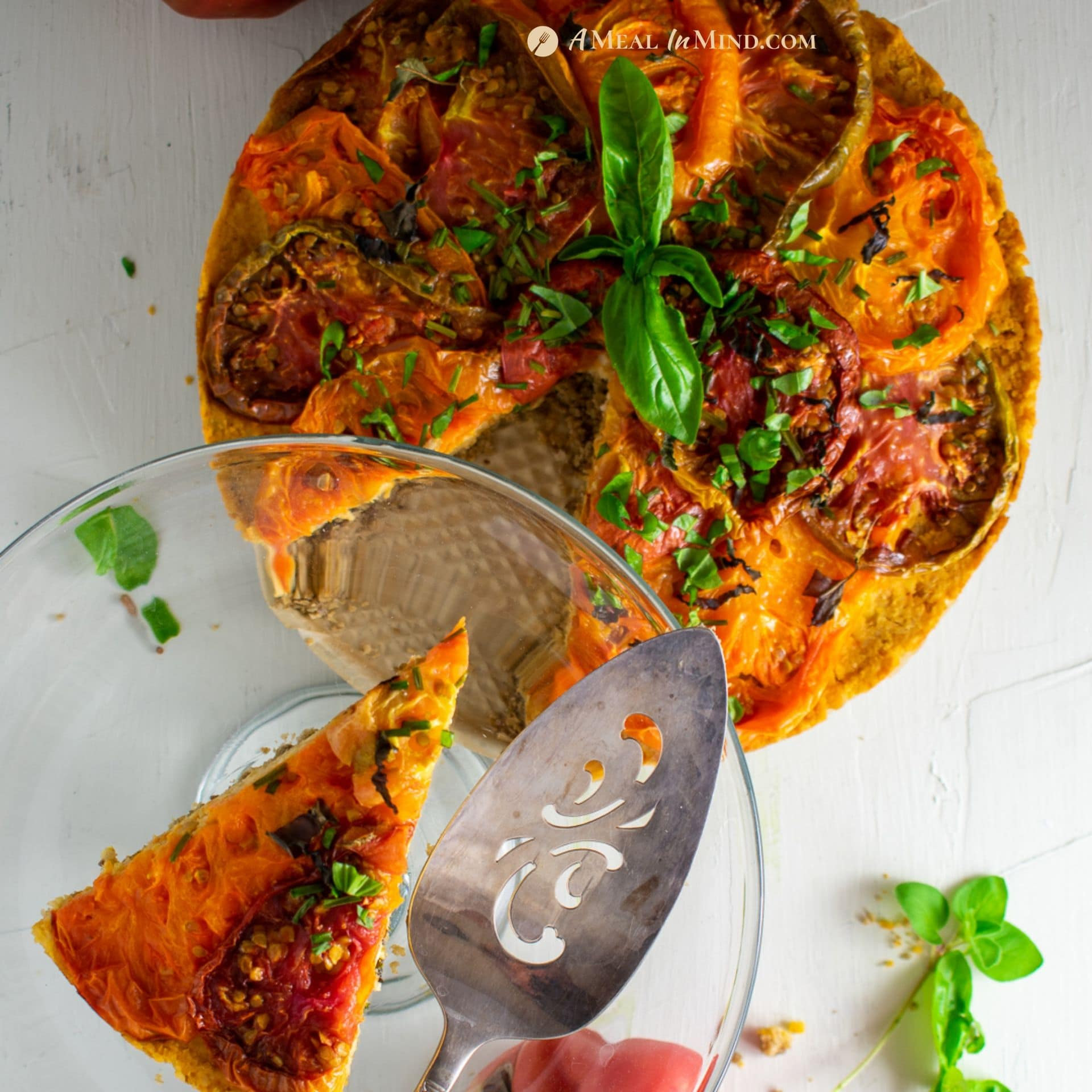 Roasted Heirloom Tomato Tart with Chickpea-Walnut Filling – GF and vegan