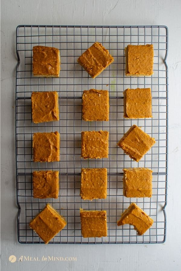 pumpkin pie spice bars gluten free and vegan on cooling rack