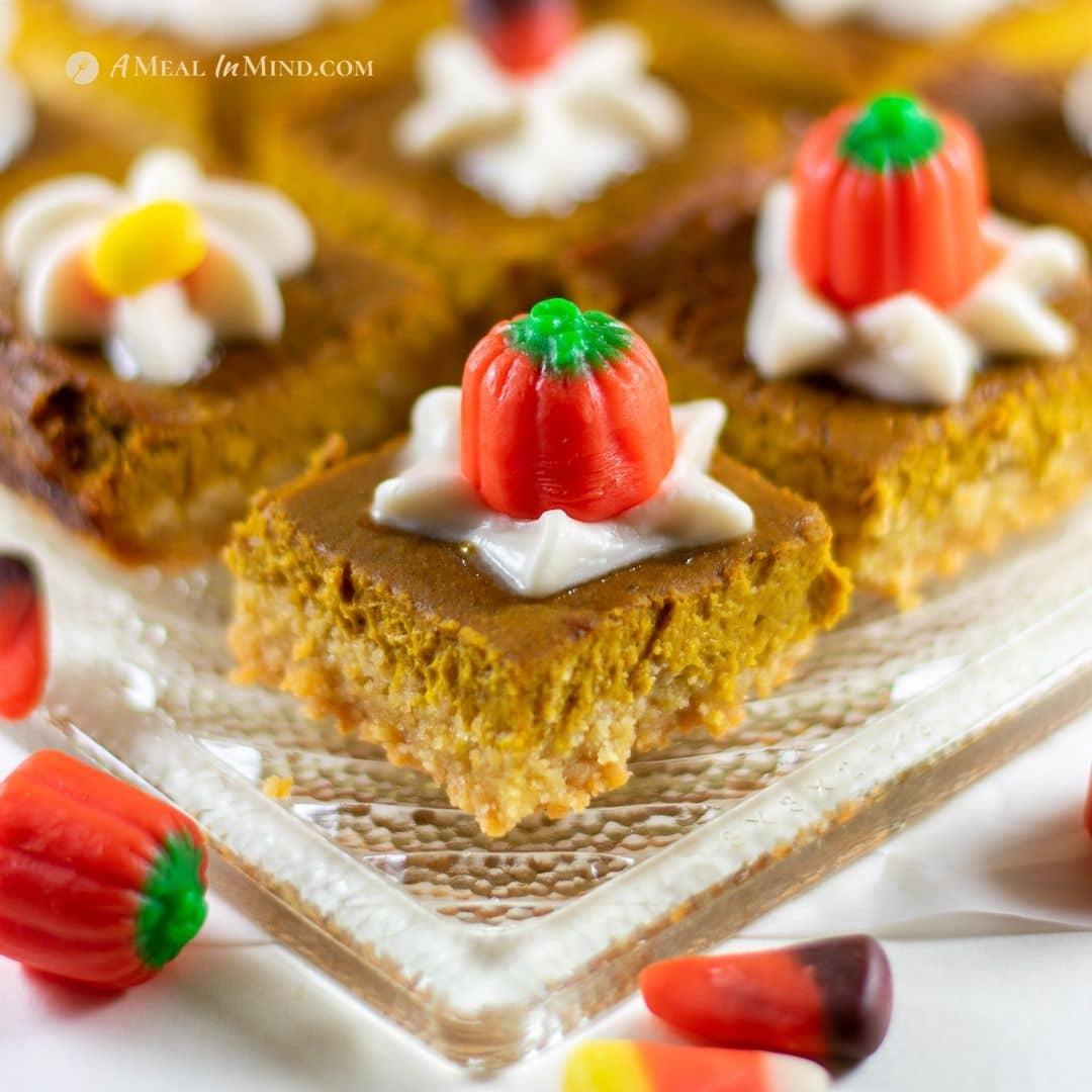 pumpkin pie spice bars gluten free and vegan with halloween candies
