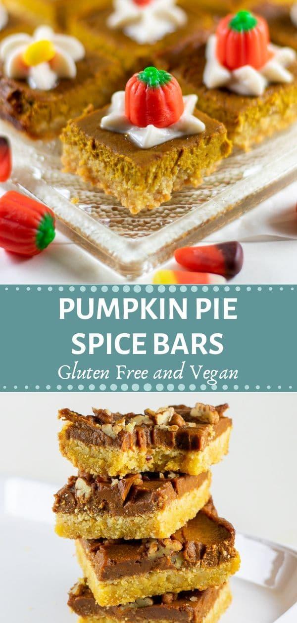 pumpkin pie spice bars gluten free and vegan with halloween candies collage2