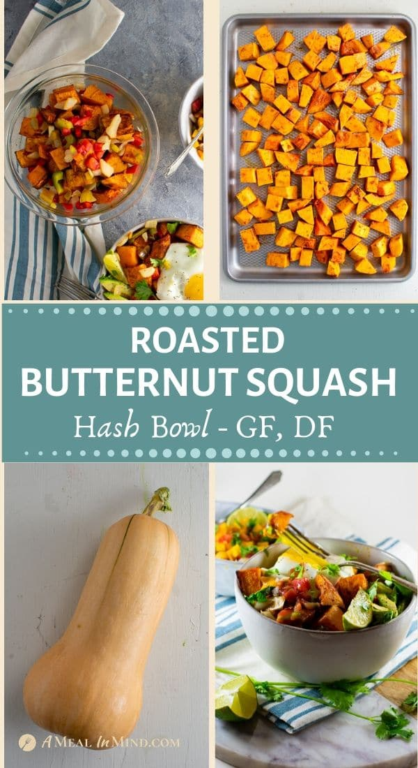 4-image pinterest collage of delicious roasted butternut squash hash bowl