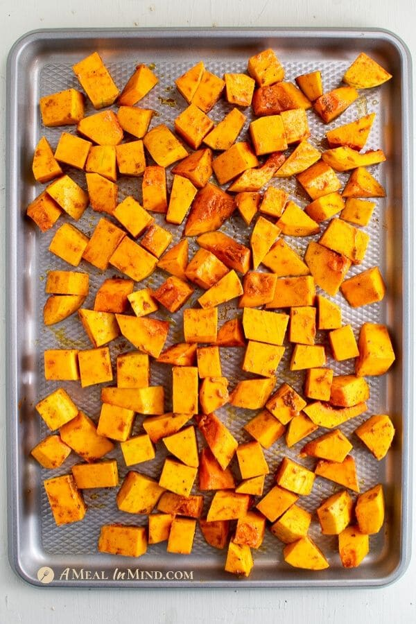 savory cubes for roasted butternut squash breakfast hash bowl on sheet pan