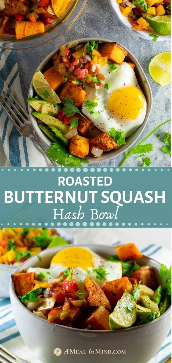 pinterest collage 2 of delicious roasted butternut squash hash bowl with egg