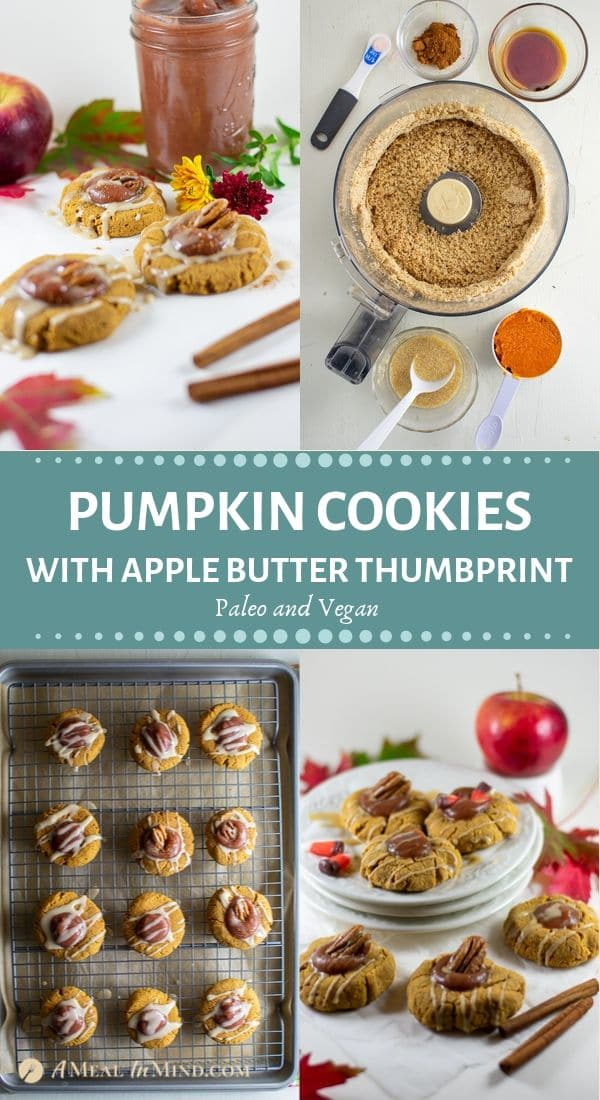 festive pumpkin cookies with apple butter thumbprint pinterest collage