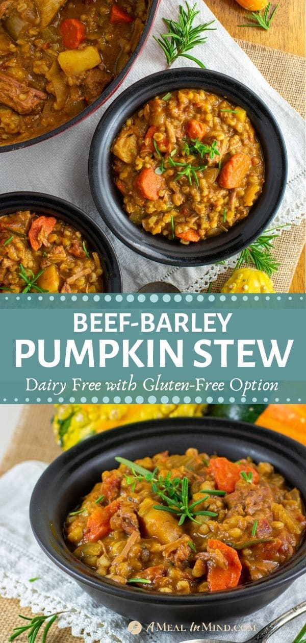 easy beef barley pumpkin stew in black bowls pinterest tall collage
