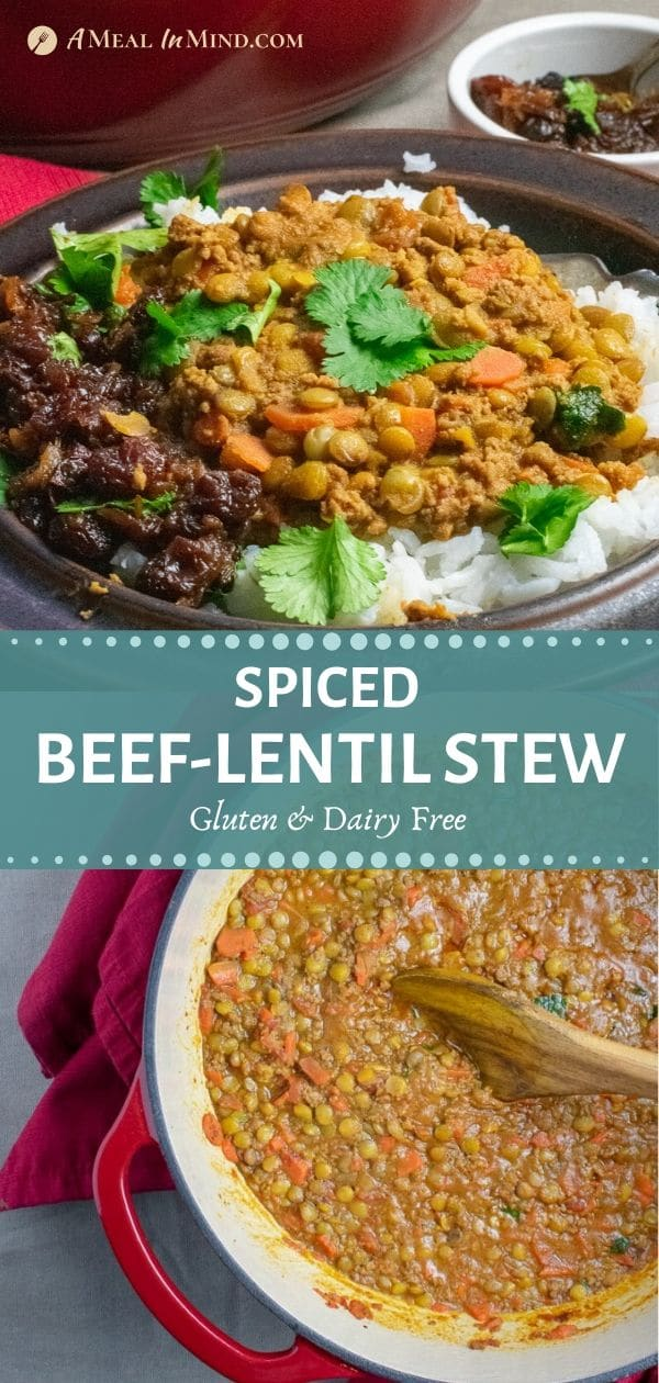 tall pinterest collage of spiced beef-lentil stew