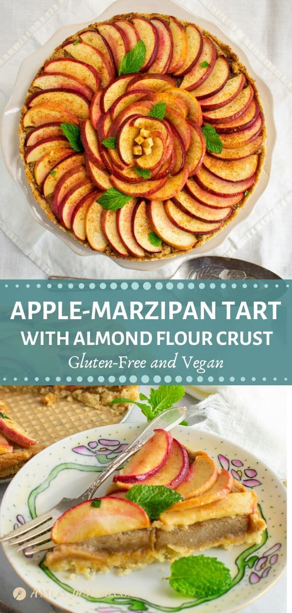 pinterest collage of apple marzipan tart with almond crust on pie stand