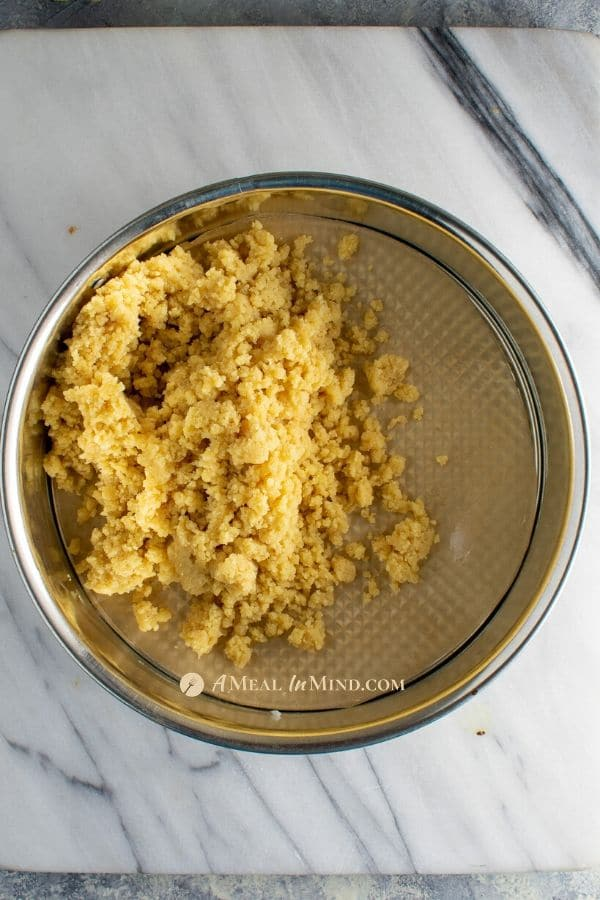 crust mixture for apple marzipan tart with almond crust