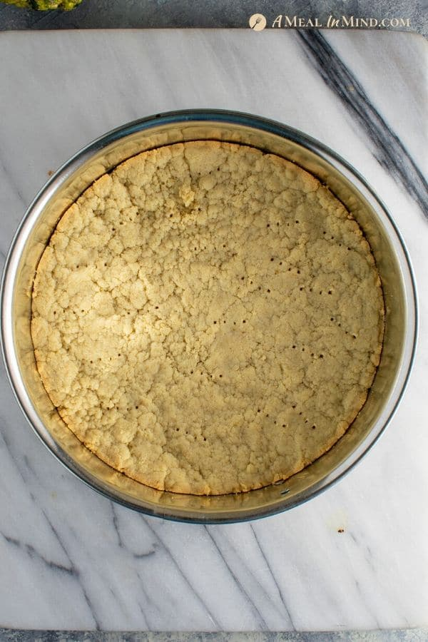 crust for apple marzipan tart with almond crust in springform pan
