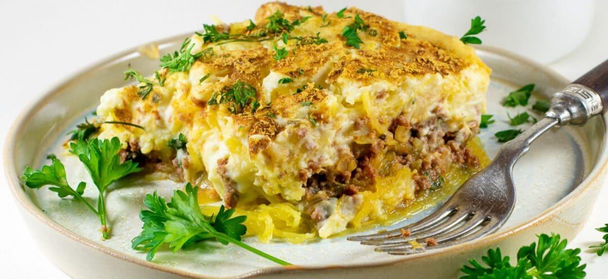 Spaghetti Squash Greek Pastitsio – Gluten and Dairy Free