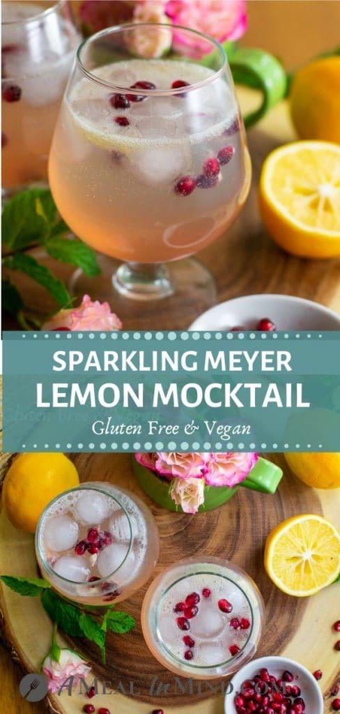 refreshing sparkling meyer lemon mocktail pinterest collage