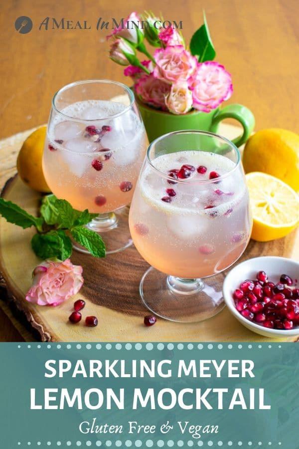 refreshing sparkling meyer lemon mocktail pinterest image