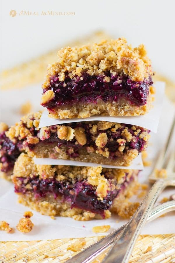 delicious plum-oatmeal crumble bars in stack