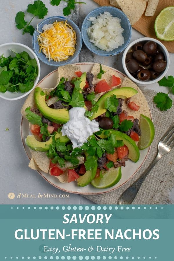 Pinterest image of savory gluten-free nachos in small dishes