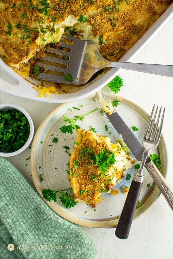 gluten-free spaghetti squash Greek pastitsio on white plate