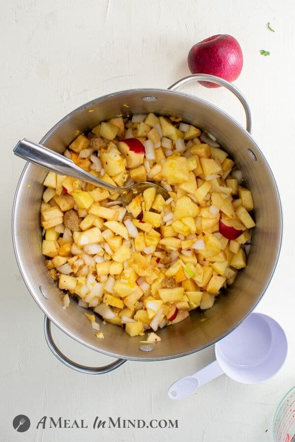 delicious easy apple chutney in cooking pot