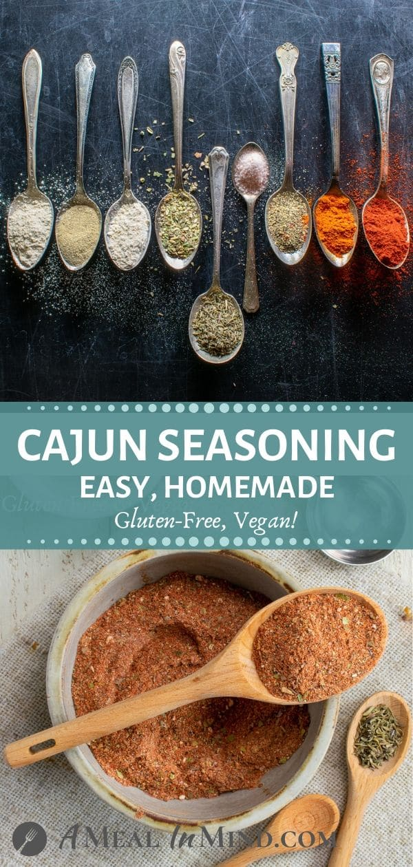 Tall Pinterest image of cajun seasoning in spoons and in ceramic bowl