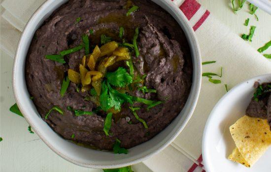"""Cheesy"" Green Chile Black Bean Dip– Vegan"