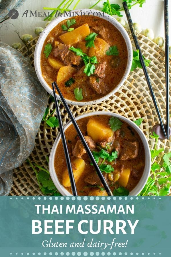 thai massaman curry with beef and potatoes in bowls pinterest image