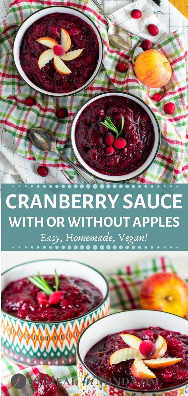 easy cranberry sauce with apples in small bowls tall pinterest collage