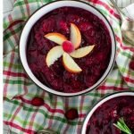 easy cranberry sauce with apples in small bowl
