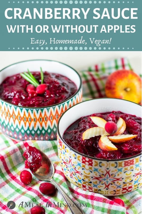easy cranberry sauce with apples in small bowls pinterest image2