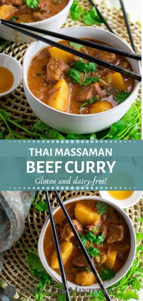 thai massaman curry with beef and potatoes in bowls tall pinterest collage