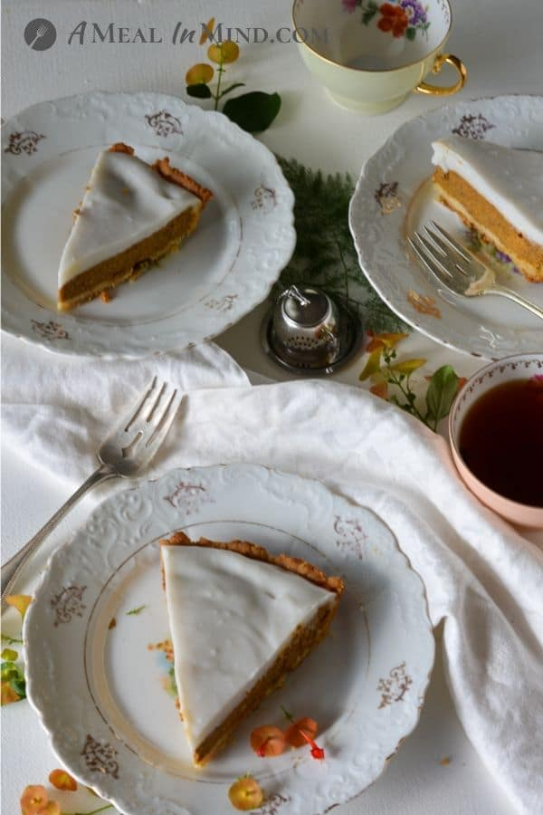 slices of delicious haupia pumpkin pie on white plates